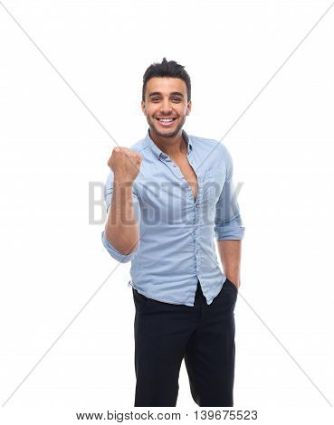 Handsome business man happy smile, businessman hold fist ok yes gesture, wear blue shirt isolated over white background