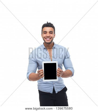 Handsome business man happy smile, businessman show empty tablet computer screen, wear blue shirt isolated over white background