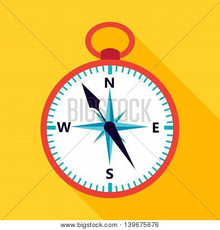 Compass icon over yellow. Vector illustration of measuring tool.