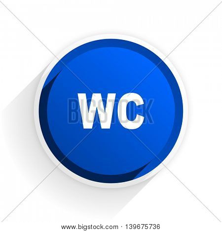 toilet flat icon with shadow on white background, blue modern design web element
