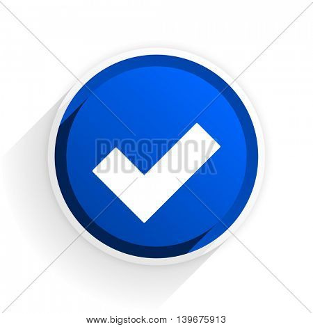 accept flat icon with shadow on white background, blue modern design web element