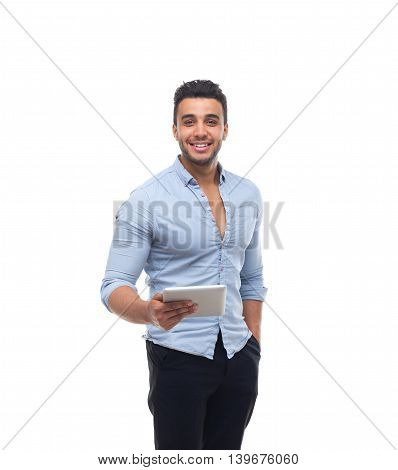 Handsome business man happy smile, businessman hold tablet pad computer, wear blue shirt isolated over white background