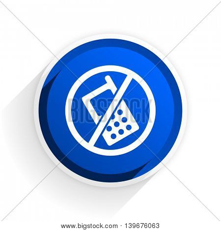 no phone flat icon with shadow on white background, blue modern design web element