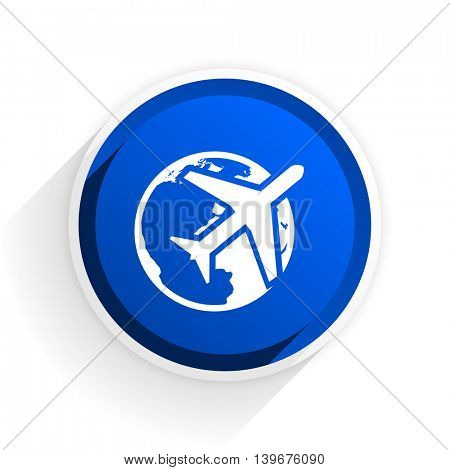 travel flat icon with shadow on white background, blue modern design web element