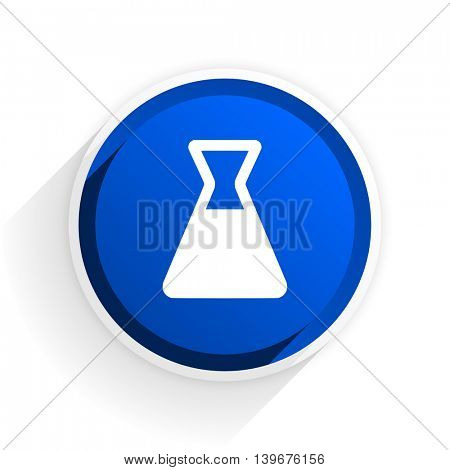 laboratory flat icon with shadow on white background, blue modern design web element