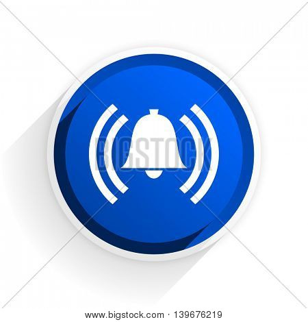 alarm flat icon with shadow on white background, blue modern design web element