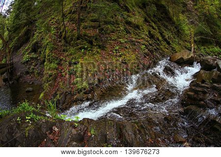 Magnificent mountain river, close up