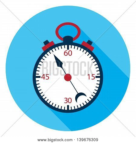 Stopwatch flat circle icon.Vector illustration of measuring tool.