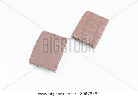chocolate coated wafer filled on white backgroud