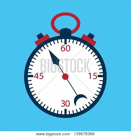 Stopwatch flat over blue. Vector illustration of measuring tool.