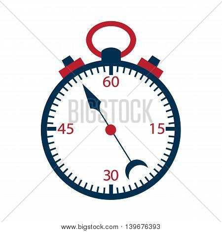Stopwatch over white. Vector illustration of measuring tool.