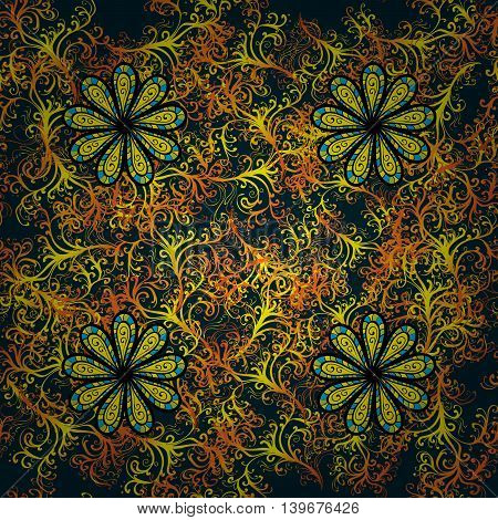 Abstract beautiful background with doodles flower. Vector illustration.