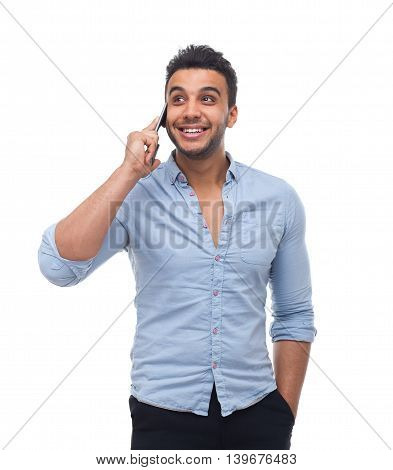 Handsome business man cell smart phone call look up to copy space happy smile, businessman wear blue shirt isolated over white background