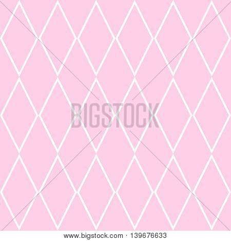 Checkered tile vector pattern or pink and white wallpaper background