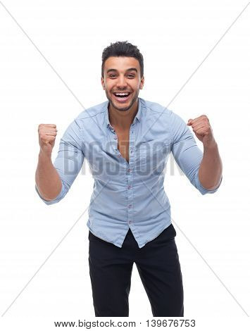 Handsome business man excited hold hands fist up shouting, businessman wear blue shirt isolated over white background