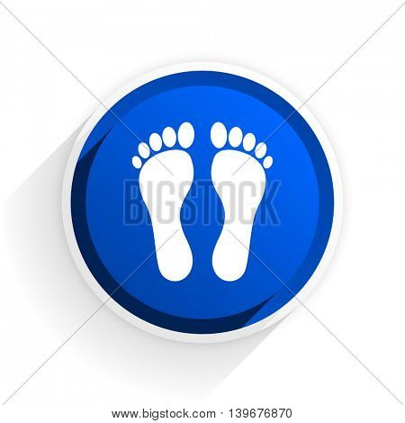 foot flat icon with shadow on white background, blue modern design web element