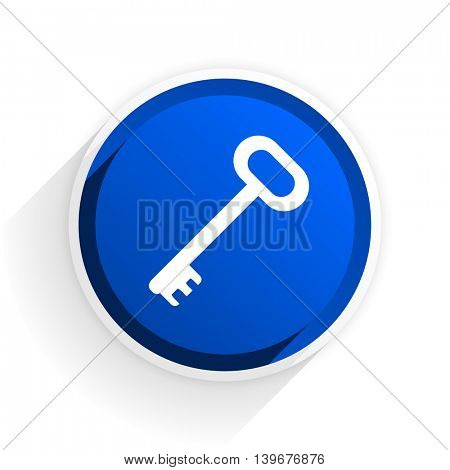key flat icon with shadow on white background, blue modern design web element