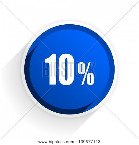 10 percent flat icon with shadow on white background, blue modern design web element
