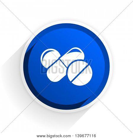 medicine flat icon with shadow on white background, blue modern design web element