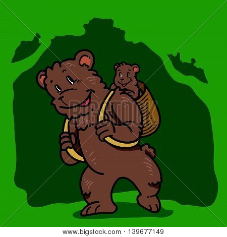 Illustration of cartoon bear carrying around his cub