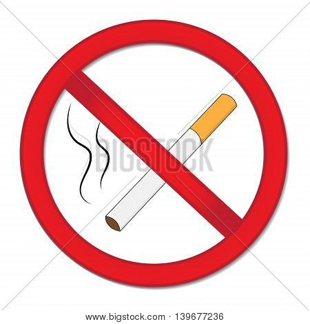 Red sign smoking ban. Stop cigarette nicotine. Vector illustration.