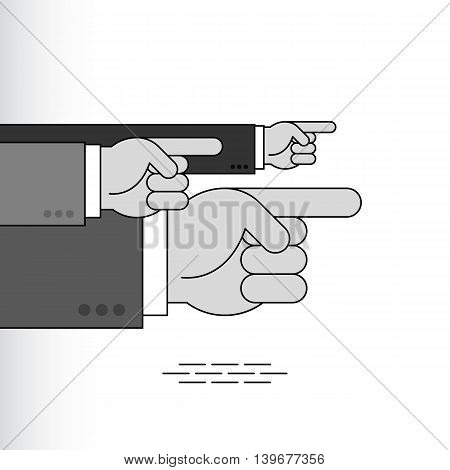 Index fingers show the direction; Group of arrow signs from the pointing hands with forefingers in the sleeves of business suits; Vector Eps8
