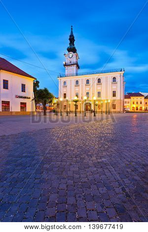 KEZMAROK, SLOVAKIA - JUNE 16, 2016: Town hall and the main square in the town of Kezmarok, Slovakia on June 16, 2016.