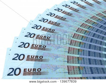 Money fan on white background. Twenty euros. 3D illustration.