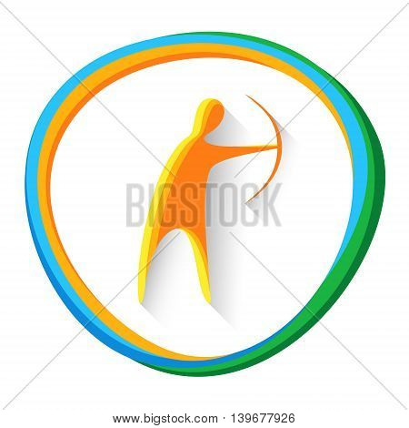 Archer With Archery Sport Game Logo Competition Icon Vector Illustration