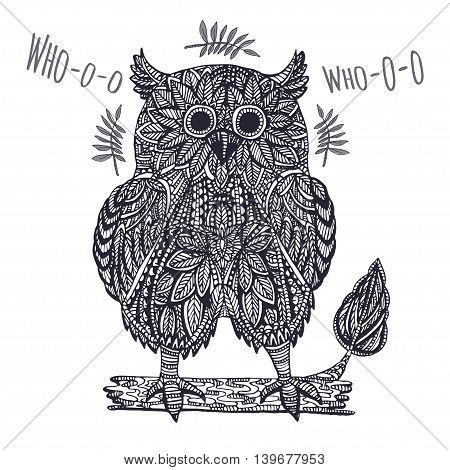 Ornamental owl in white background for T-shirt, postcard, poster or other use. Vector illustration