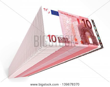 Stack Of Banknotes. Ten Euros.
