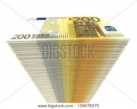 Stack Of Banknotes. Two Hundred Euros.