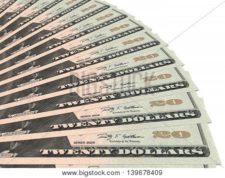 Money fan on white background. Twenty dollars. 3D illustration.