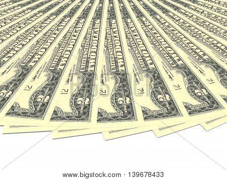 Money fan on white background. Two dollars. 3D illustration.