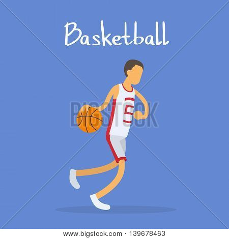 Basketball Player Sportsman Sport Competition Flat Vector Illustration