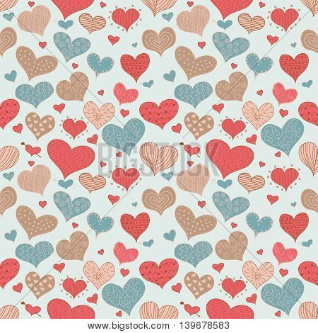Seamless Pattern Romantic Love Hearts Retro Sketch Doodles Icons Valentine s Day Isolated Vector Illustration