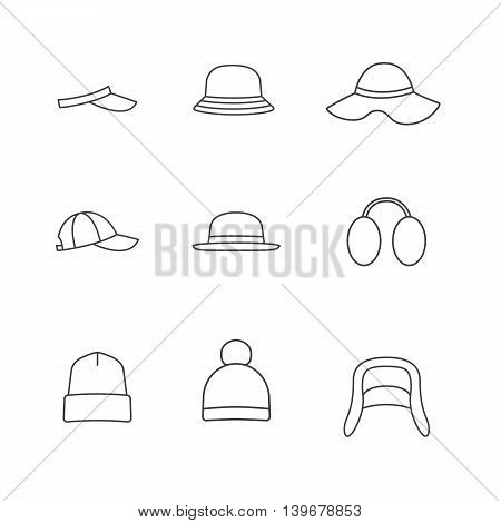 Caps and hats icon set. Vector line icons