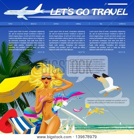 Travel and voyage web site and page template with a topless girl in the sea beach and airplane. Vector illustration