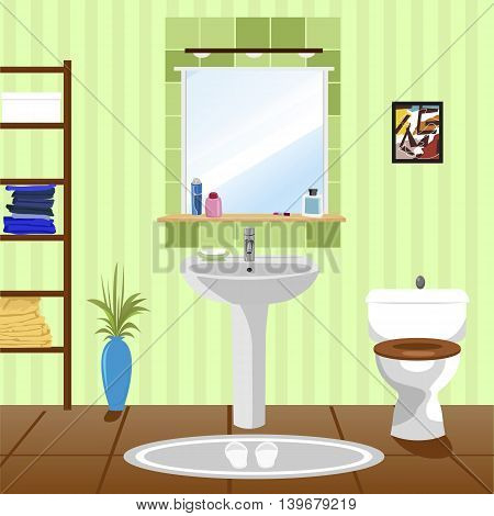 interior of green bathroom with sink, bathtub, toilet and picture