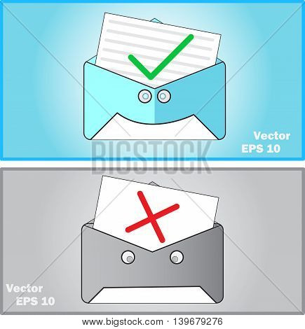 Mail yes and no. Flat vector illustration.