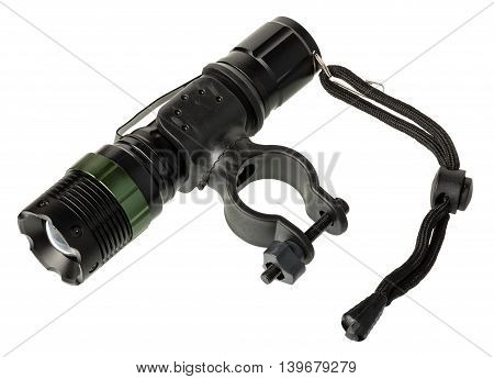 Front bicycle light with mount isolated on white