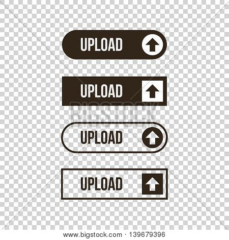 Monochrome upload flat design, outlined web button set, collection on transparent background.