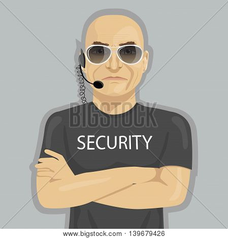 Security guard standing with crossed arms and glasses on a white background