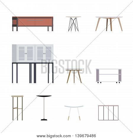 Vector Set of Modern Scandinavian Styled Coffee Tables