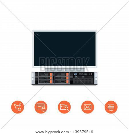 Vector Illustration of a Server Unit with Monitor set to it and Flat Styled Icons