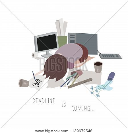 Vector Illustration of a Man Sleeping on His Working Materials Which Means That Deadline is Coming Closer