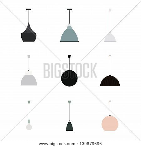 Vector Set of Different Modern Hanging Lamps