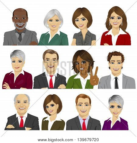 set of business people avatar collection of workers team on white background