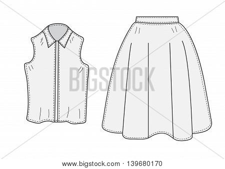 Skirt and blouse set sketch retro style. Clothes hand-drawing doodle style. Women suit. vector illustration.