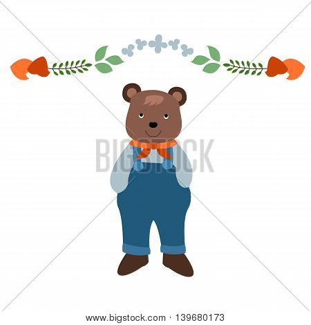 Vector Illustartion Small Bear and Leaf Ornament on Top